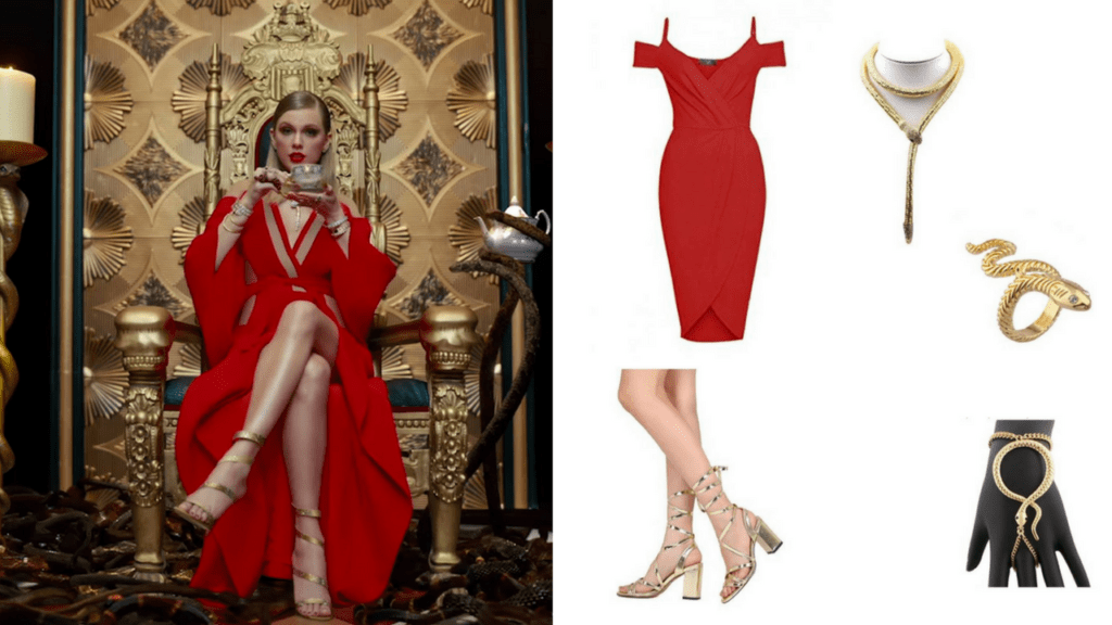 9 Look What You Made Me Do Taylor Swift DIY Halloween Costumes Red Dress Snake Throne via Charleston Crafted