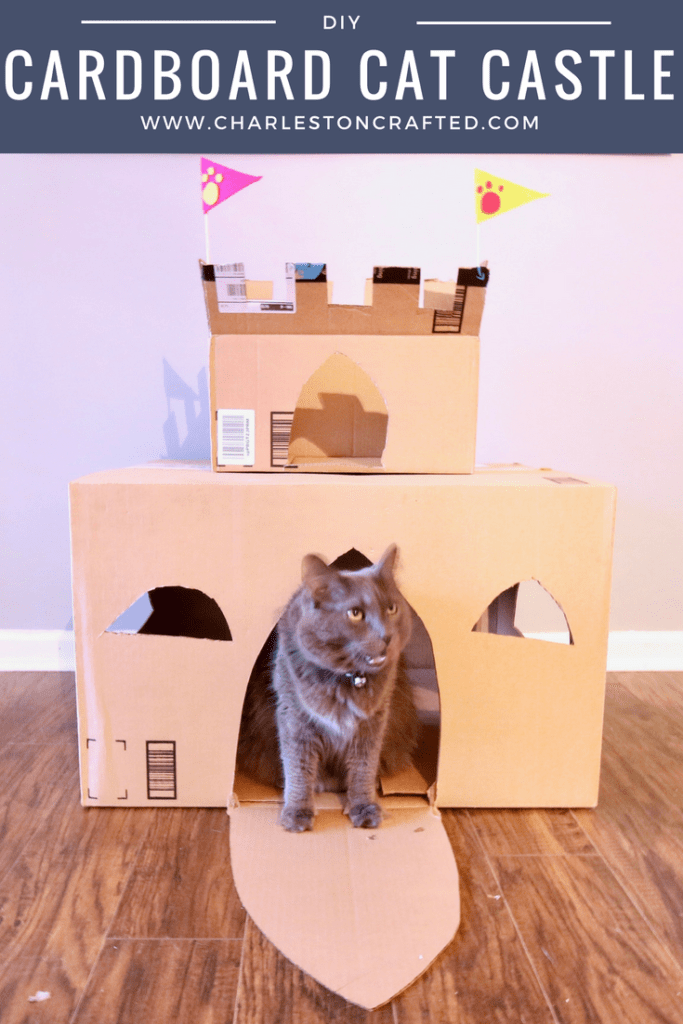 How to Build a DIY Cardboard Cat Castle via Charleston Crafted