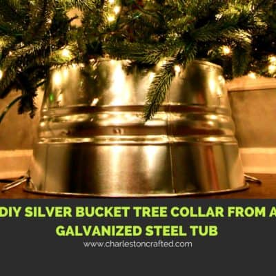 DIY Silver Bucket Tree Collar from a Galvanized Steel Tub