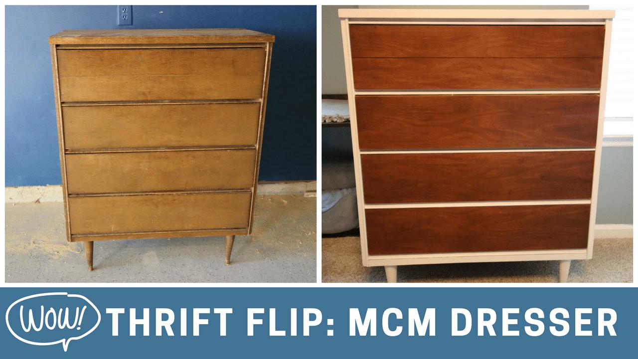 Thrift Flip: $70 Mid Century Modern Dresser Makeover via Charleston Crafted