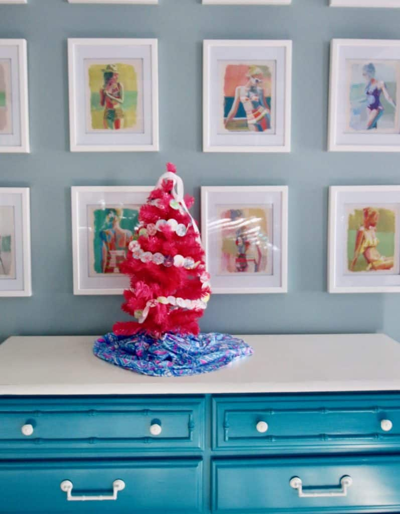 DIY Lilly Pulitzer Pink Christmas Tree via Charleston Crafted