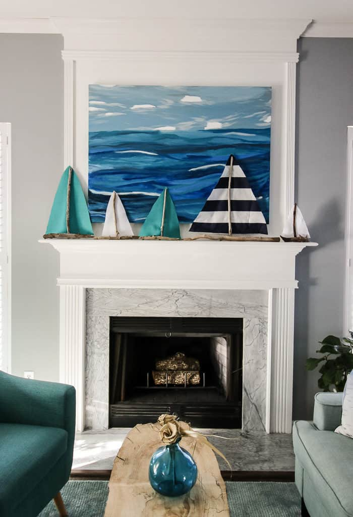 Driftwood Sailboat Coastal Mantel via Charleston Crafted