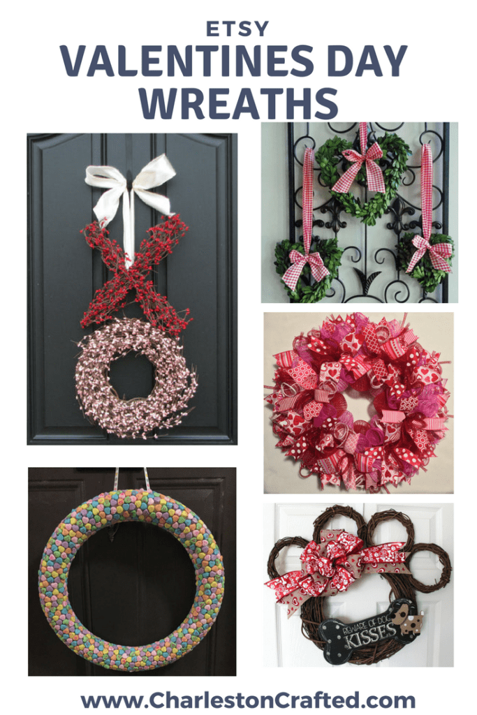 etsy valentines day wreaths via Charleston Crafted
