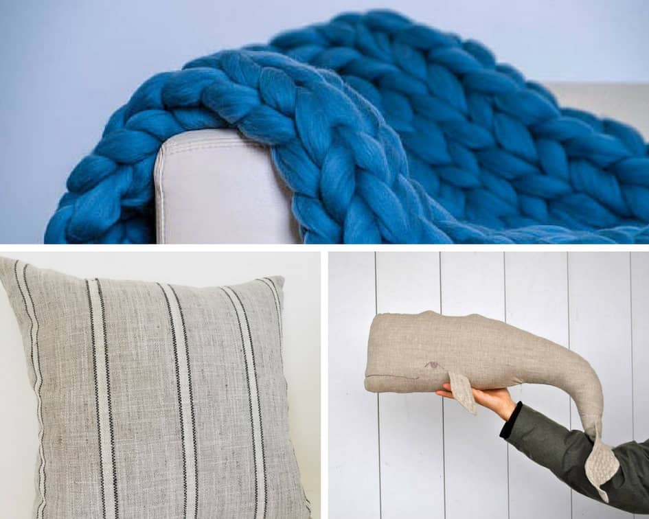 Six Nautical Pillow + Blanket Combinations via Charleston Crafted