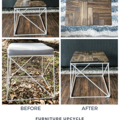 Furniture Flip: Upholstered Stool to Herringbone Wooden Plant Stand