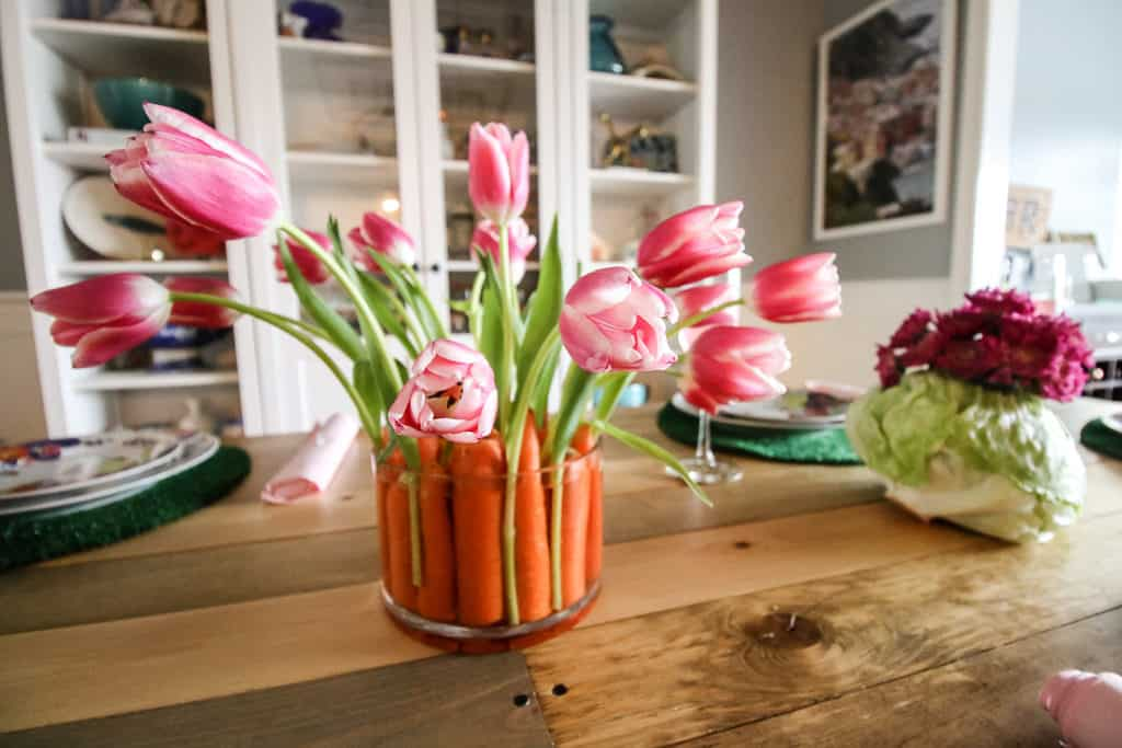Easter Tablescape with Carrot and Lettuce Centerpieces via Charleston Crafted