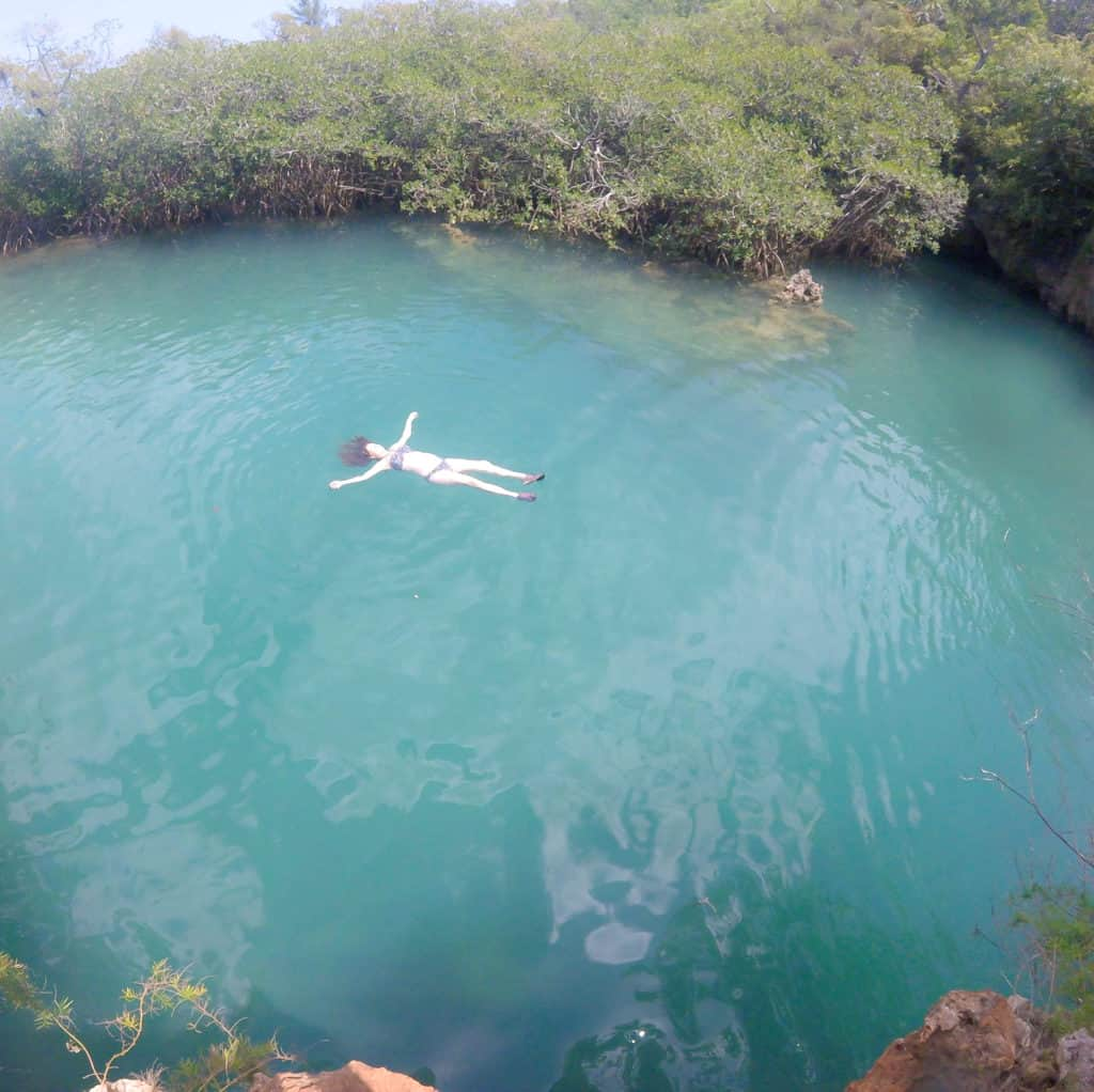 Floating in The Blue Hole Bermuda