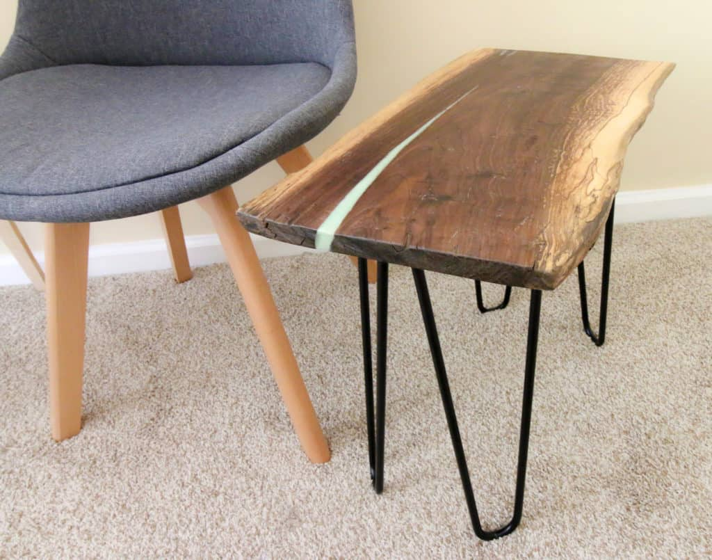 Epoxy Live Edge River Side Table via Charleston Crafted