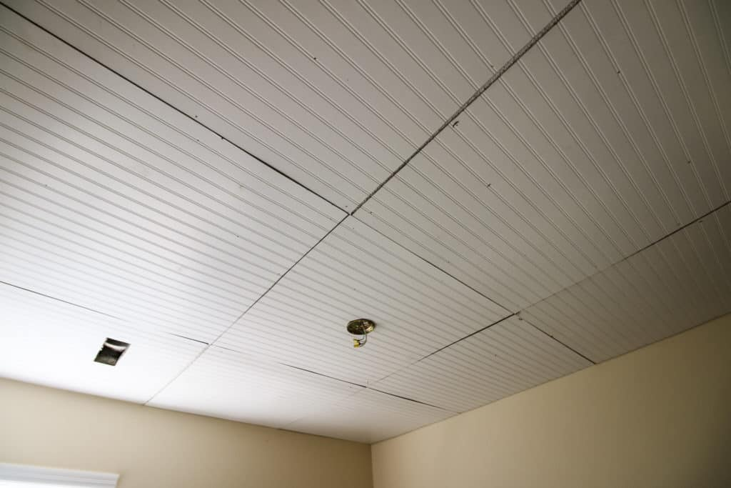 Bead board on ceiling
