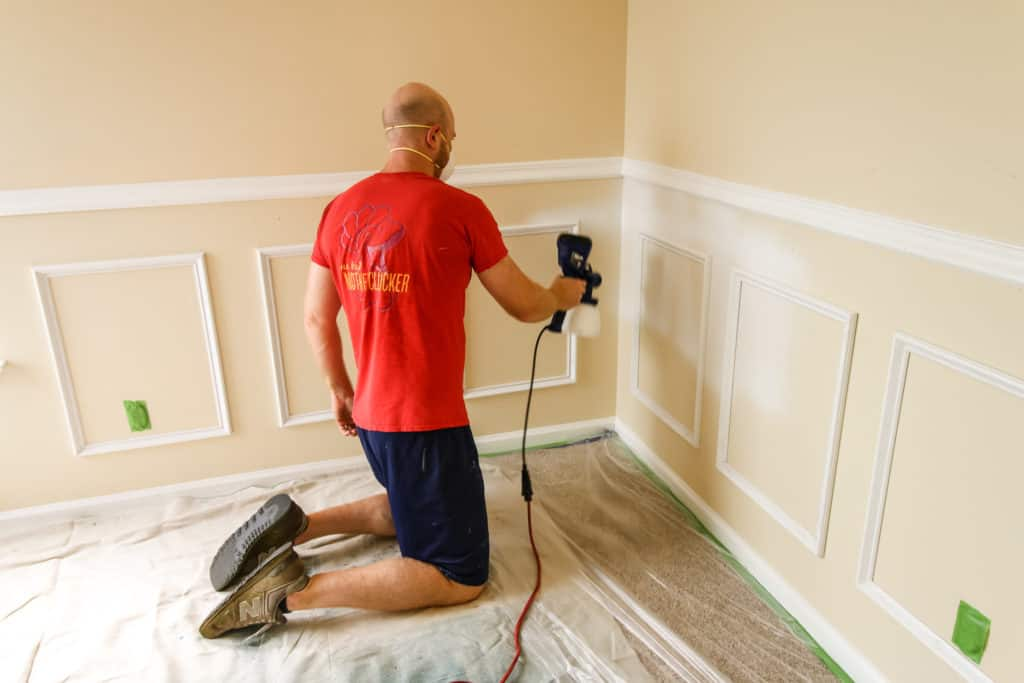 Paint spraying wainscoting