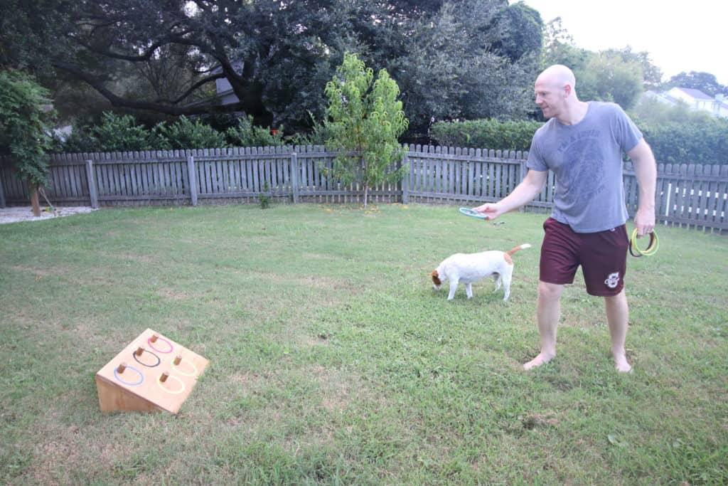 Playing backyard ring toss