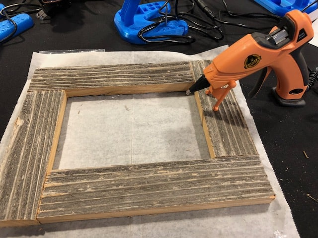 Hot gluing quick and easy frames
