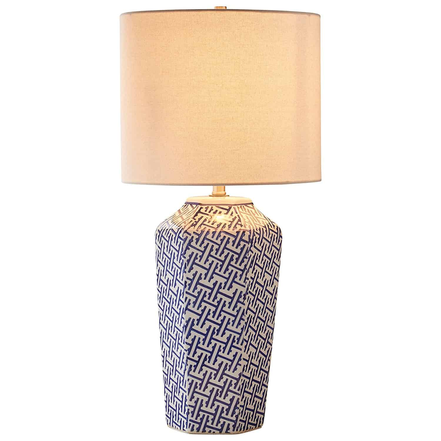 Stone & Beam Geo Pattern Ceramic Lamp