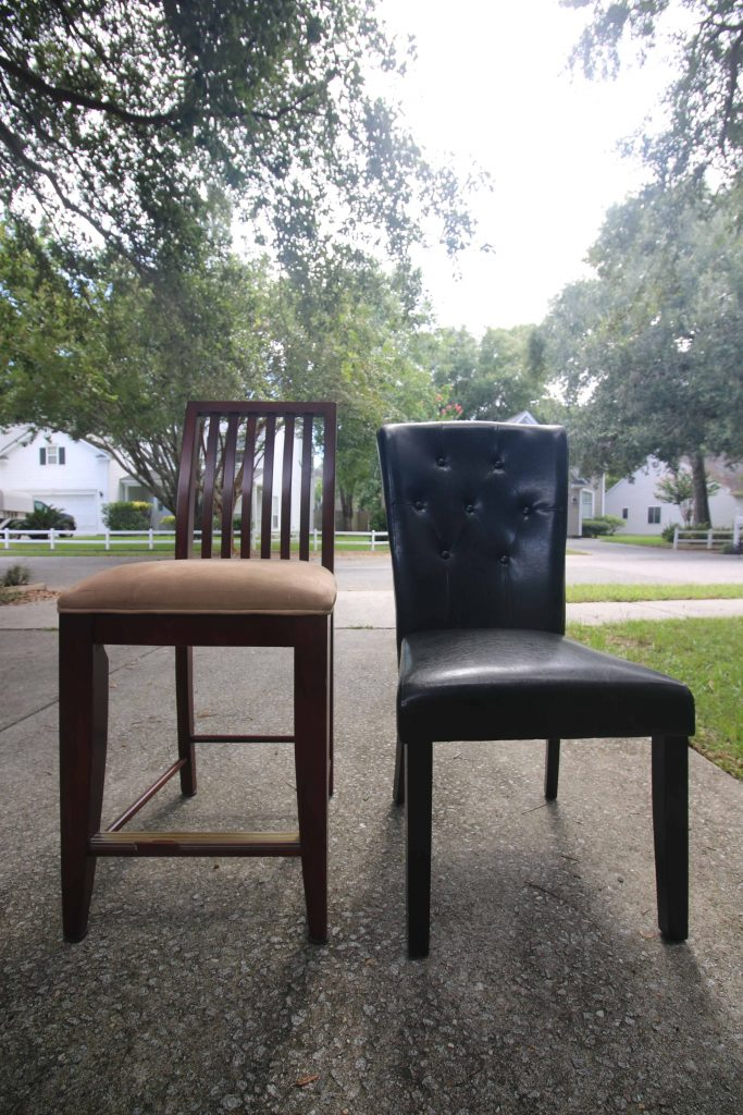 How to turn bar stool chairs into dining chairs - Charleston Crafted