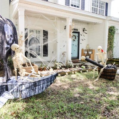 Our Skeleton Pirate Halloween Yard Display
