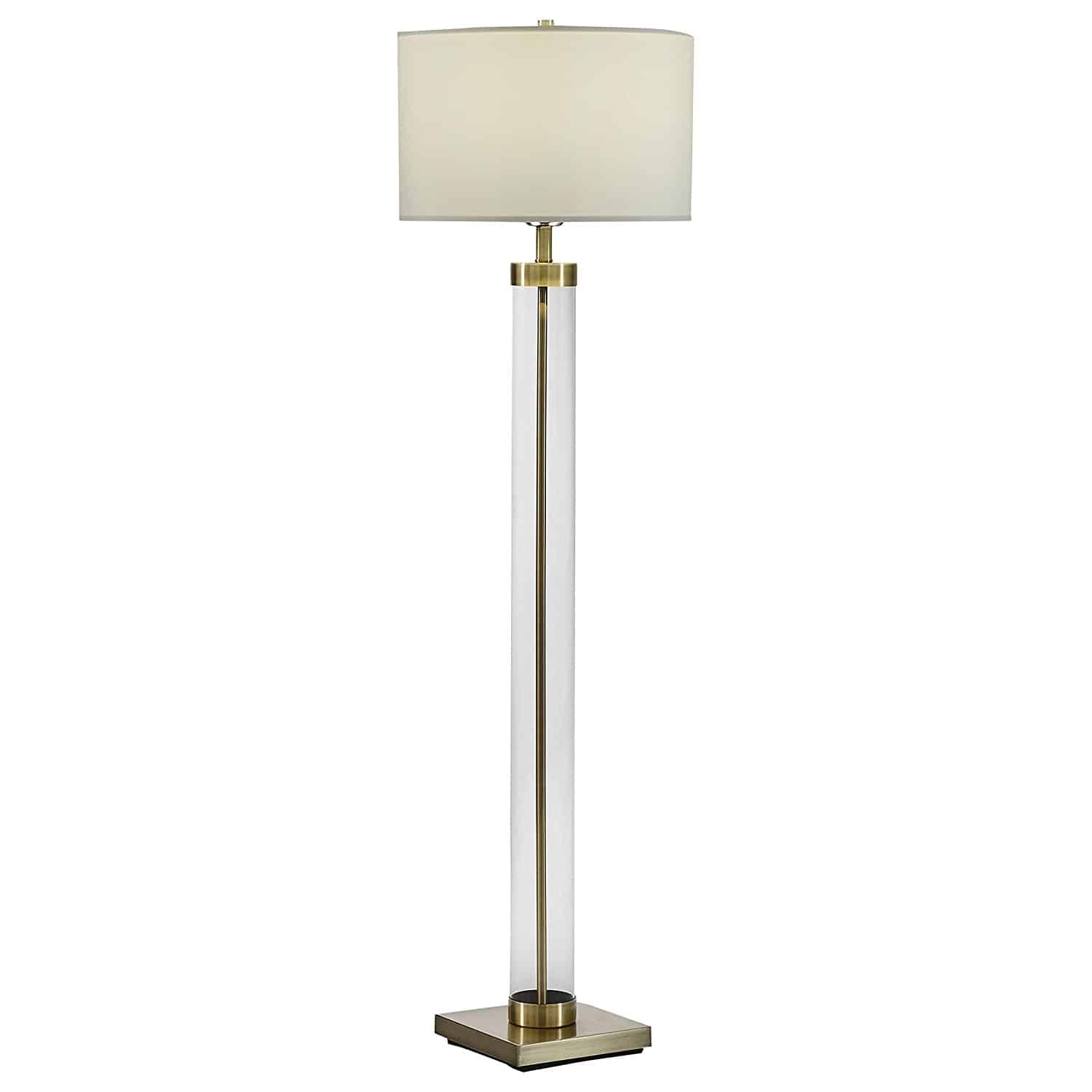 Stone & Beam Glass Column Brass Floor Lamp