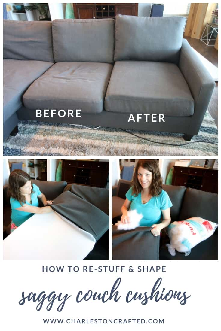How to stuff sofa cushions - restuff a saggy couch before and after DIY tutorial