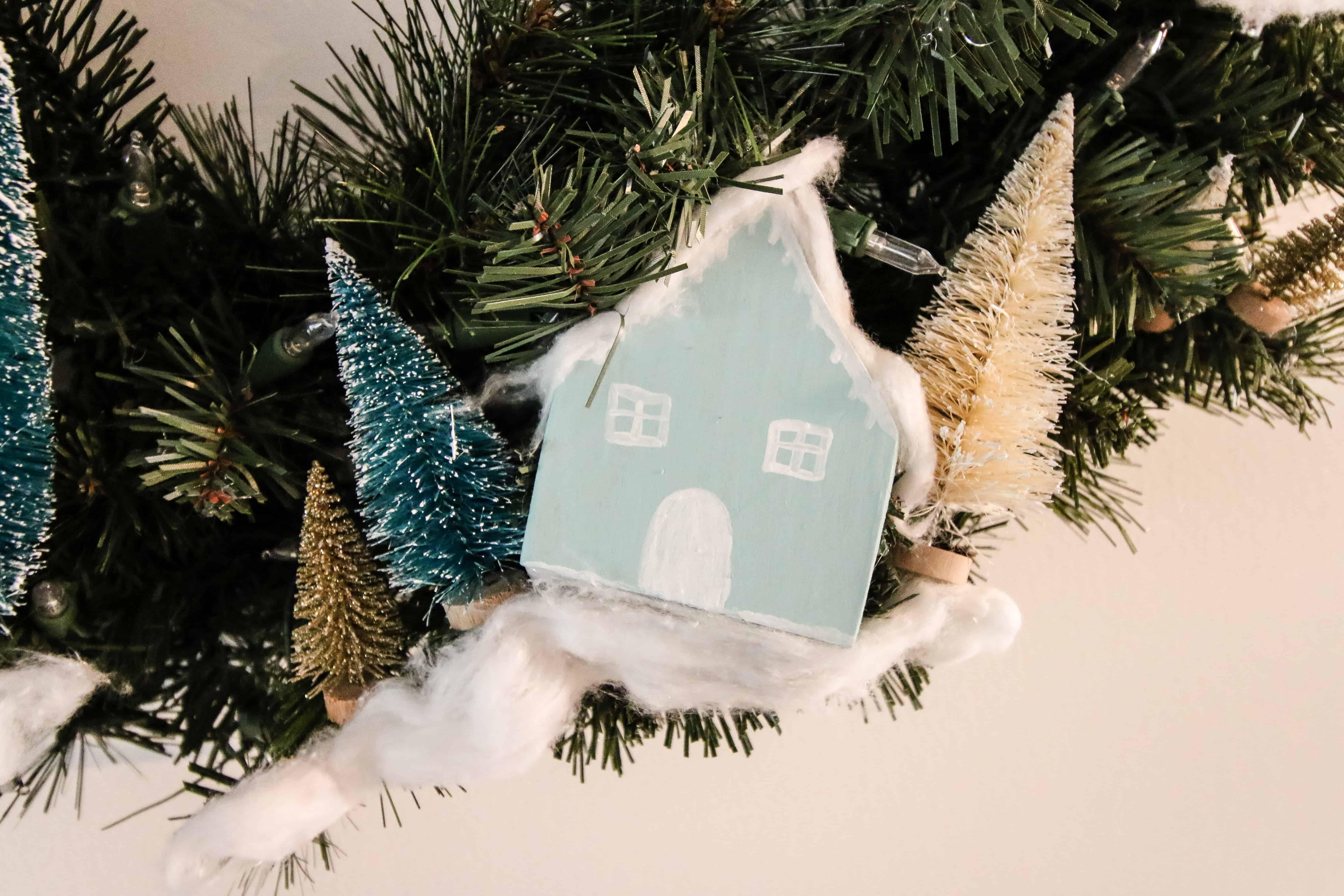 DIY Bottle Brush & Wooden House Christmas Wreath