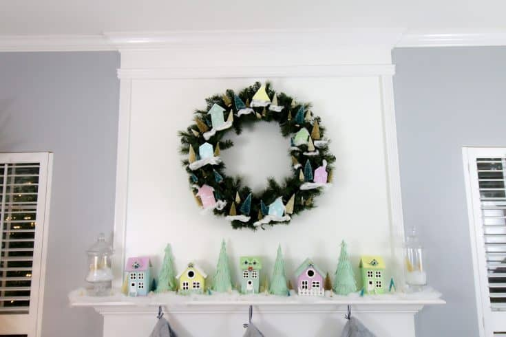 DIY Christmas Village Mantel Display