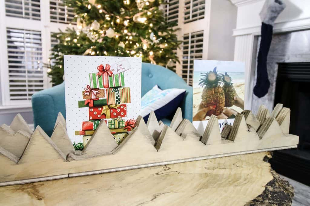 DIY Wooden Mountains Christmas Card Holder