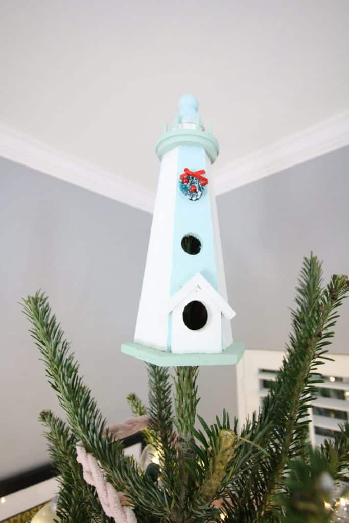 Wooden Lighthouse tree topper for a beach coastal Christmas Tree