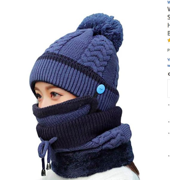 Gifts for people who are always cold - beanie with built in scarf and face mask