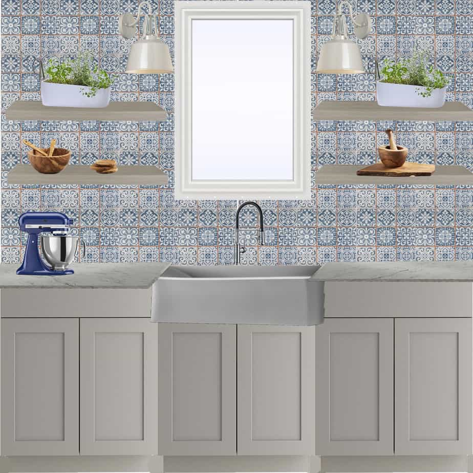 Blanco Mood Board - Blue and white kitchen