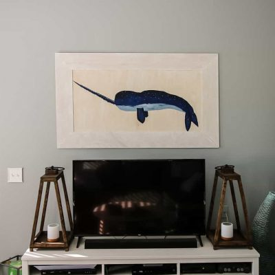 Narwhal Plywood Painting and Frame