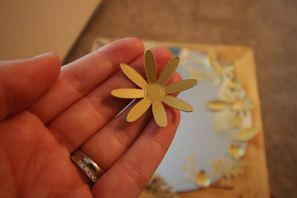 DIY Gold Flower Framed Mirror (made from paper flowers cut with my Cricut!)
