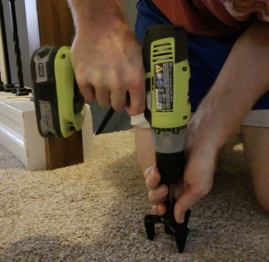 how to use this tool to drill into carpet and remove squeaks