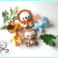 Wild Baby Animals set of Four-PDF sewing pattern-Elephant-Giraffe-Lion-Monkey-Felt ornaments-Animal ornament-Nursery decor-Baby's mobile toy