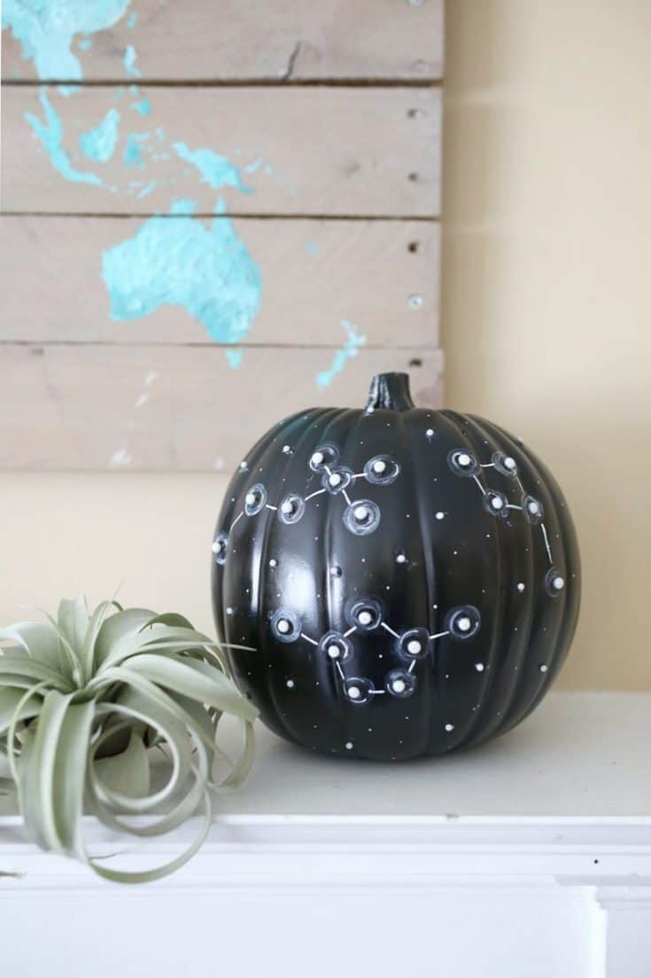 DIY No Carve Constellation Pumpkin for Halloween