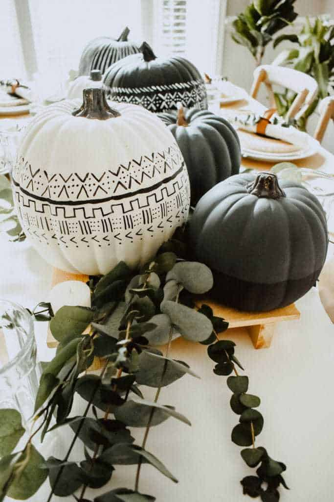 DIY Mud Cloth Pumpkins + Fall Tablescape