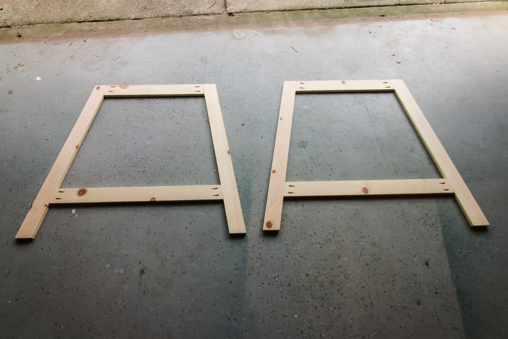 Leg frames for base of console table