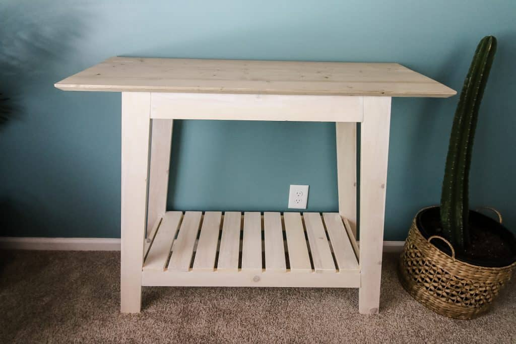 Wide shot of DIY coastal console table