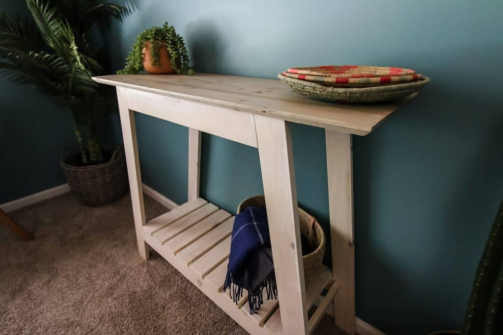 Angled shot of DIY coastal console table