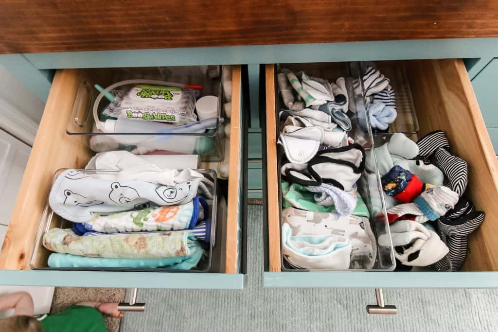 how to organize baby socks and small items in a drawer