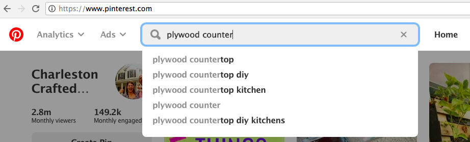 Keyword research with Pinterest search bar pop ups