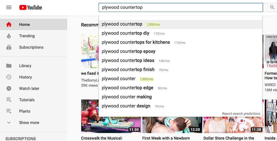 how to use youtube search bar for keyword research