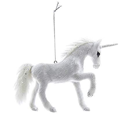 Frosted Kingdom White Plush Glittered Unicorn Christmas Ornament