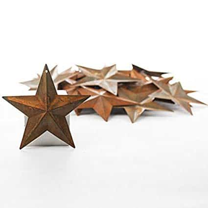 Rusted Tin Dimensional Miniature Barn Stars with Hole and Hollow Backs