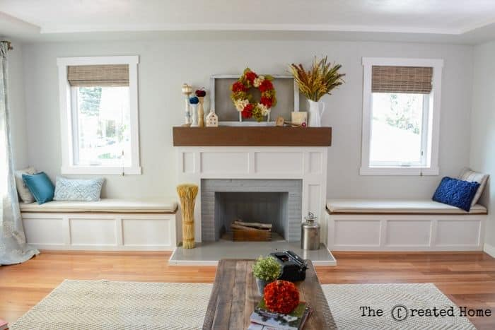 Fireplace Makeover with Built in Window Seats