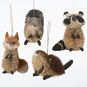 Buri Woodland Animal Hanging Ornament - Set of 4