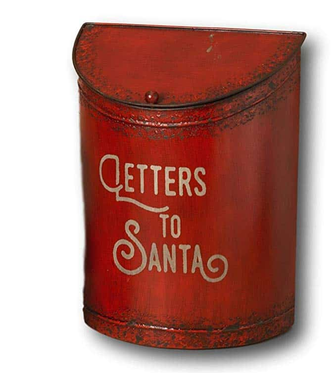 Rustic Vintage Style Metal Christmas Holiday Letters for Santa Mailbox with Hinged Lid