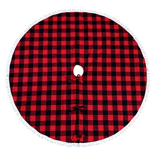 Buffalo Plaid Christmas Tree Skirt 48 Inch Red and Black