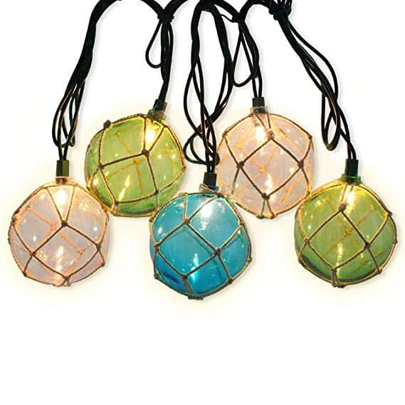 Nautical Fishing Floats Coastal Buoy Beach Style String Lights Set