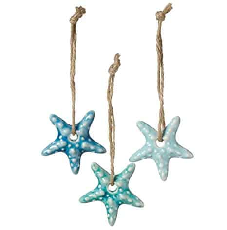 Ceramic Coastal Ornaments on Jute Rope Hangers (Starfish)