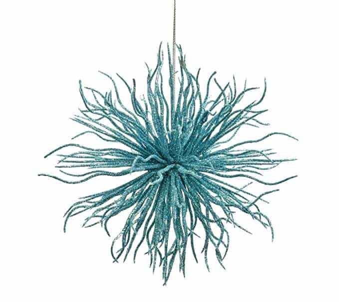 Caffco Blue Glitter Sea Urchin Hanging Christmas Tree Ornament