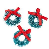 1 inch Miniature Frosted Sisal Christmas Wreaths with Red Bows 18 Total Mini Wreaths
