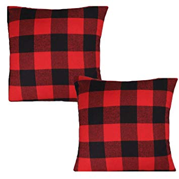 Christmas Black and Red Rustic Throw Pillow Cover Buffalo Check Plaid Pillow Cover 18x18 Inch